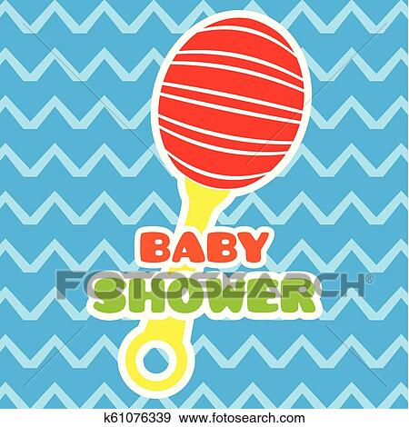 Clip Art Of Baby Shower Card With A Shaker Toy K61076339 Search