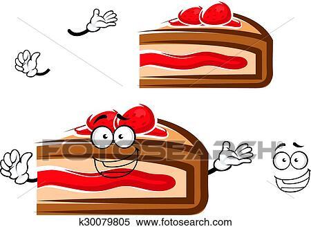 Clipart Cartone Animato Torta Bacca Fetta Con Fragola