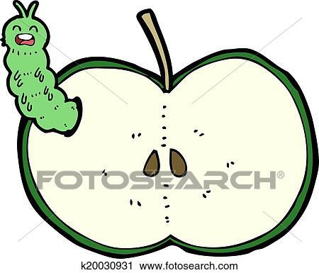 Cartoon Bug Eating Apple Clipart