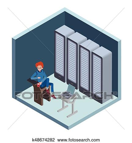 Data Center Icon System Administrator Man Sitting At The Computer