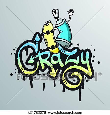 clipart graffiti mot caractre impression fotosearch recherchez des clip arts - Dessin Graffiti