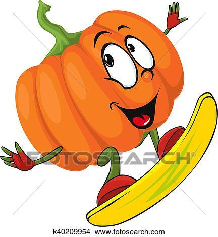 Clipart halloween disegno zucca divertente vect for Zucca di halloween disegno