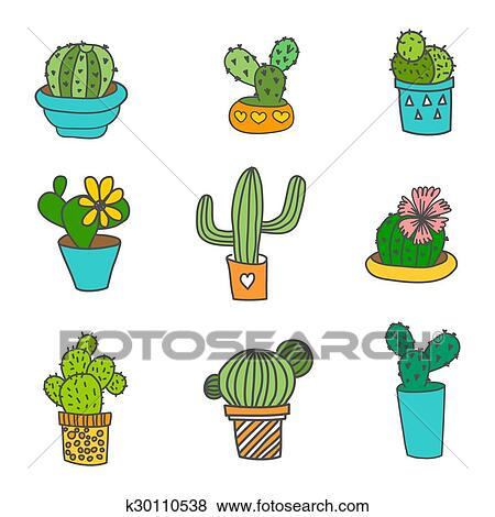 stock illustration of hand drawn cactus icons set 9 different types