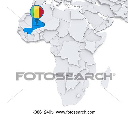 Stock Illustration Of Mali On A Map Of Africa K38612405 Search