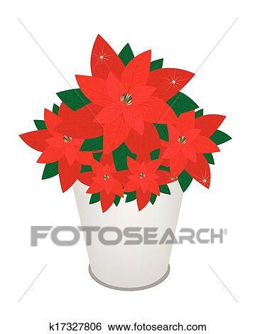 Red Christmas Poinsettia Flower In A Flower Pot Clip Art K17327806 Fotosearch
