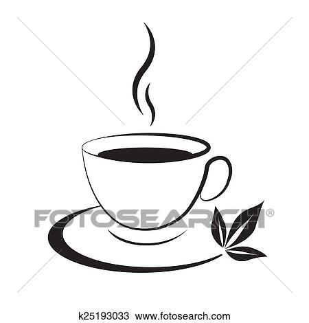 Dessin tasse th ic ne noir k25193033 recherchez des - Dessin tasse a cafe ...