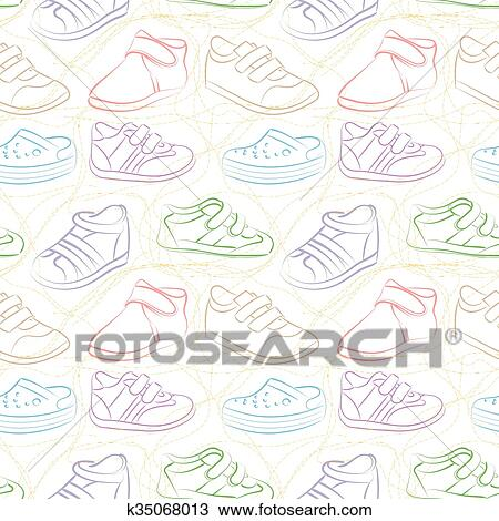Vector Seamless Set Of Baby Shoes Clipart K35068013 Fotosearch