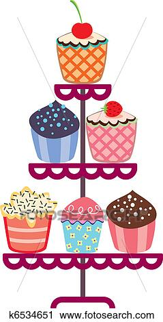 Clipart Of Vector Set Of Fruit And Chocolate Cupcakes On A Stand