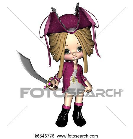 かわいい Toon 海賊 女性 イラスト K6546776 Fotosearch