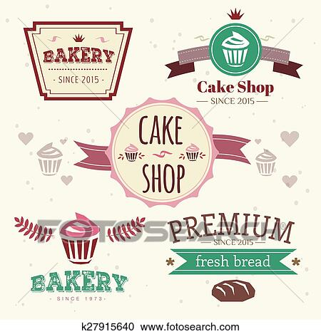 Clipart Of Abstract Vector Cake Vintage Logo Elements Set Cakes