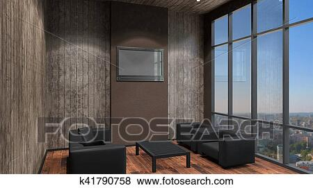 Stock Illustration Of Cozy Corner In A Residential Home Interior