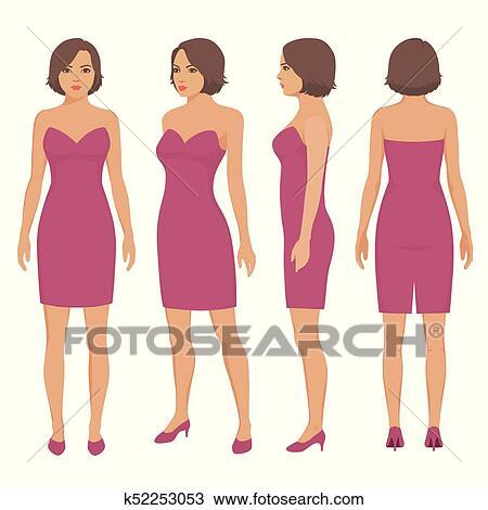 Clipart Femme Isole Dans Robe Devant Dos Et Vue Cote