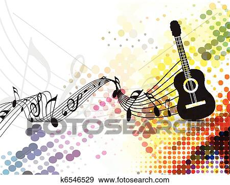 Guitar playe with music note background Clip Art