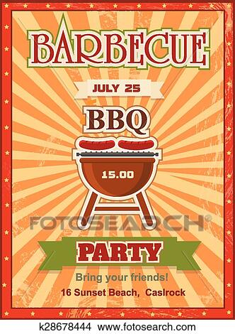 Clipart of invitation card on the barbecue design template cookout clipart invitation card on the barbecue design template cookout poster with charcoal grill sausages on stopboris Gallery