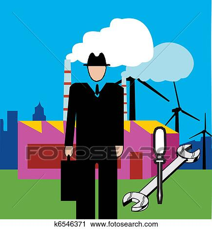 Clipart Of Maintenance Engineer With Tools And Power Plant In