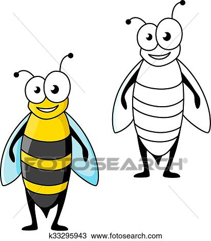 Smiling Cartoon Black And Yellow Striped Wasp Clipart K33295943