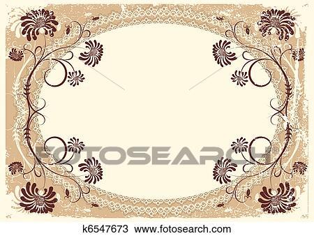 Clipart - vector, vendimia, floral, plano de fondo, con, viejo ...