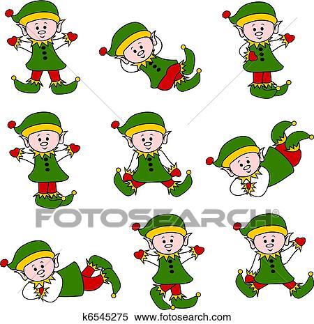 Clipart of Xmas Cute Elf Set k6545275 - Search Clip Art ...