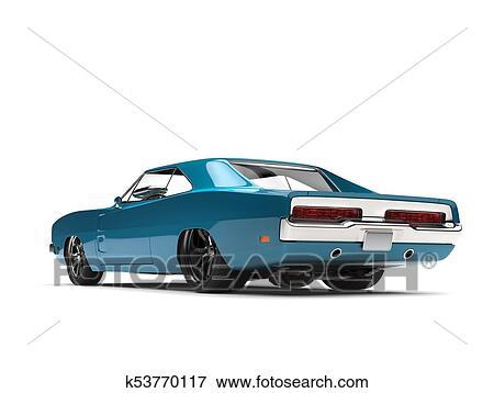 stock illustration of bondi blue vintage american muscle car - rear