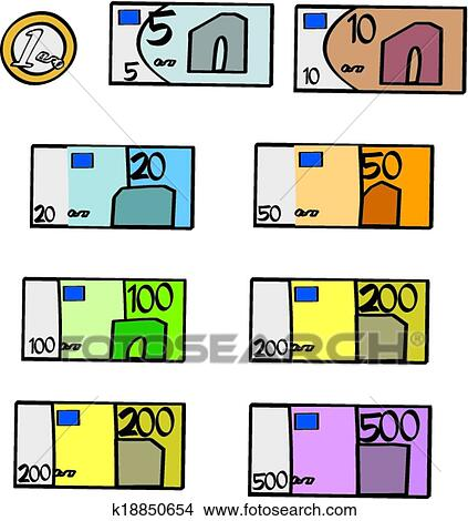 Clipart Of Cartoon Euro Bills And Coin K18850654 Search Clip Art