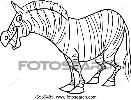 Cartoon zebra for coloring book Clipart