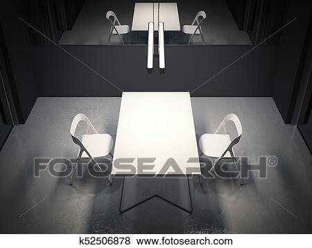 Cuarto oscuro, para, interrogación, con, dos, blanco, chairs., 3d,  interpretación Colección de ilustraciones
