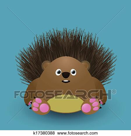 Clip Art Of Cute Baby Hedgehog K17380388 Search Clipart