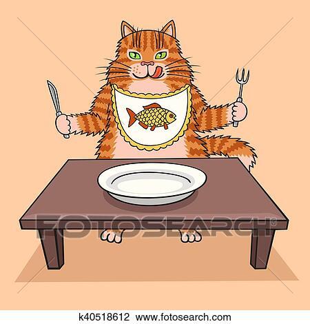 Clipart gatto affamato wants a eat k40518612 cerca for Gatto clipart