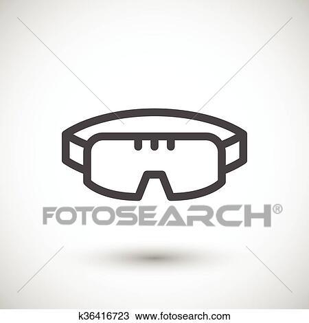 fe019ffdbfeb33 Clipart - lunettes protection protectrices, ligne, icône. Fotosearch -  Recherchez des Clip Arts