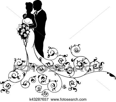 mari e mari couple mariage silhouette r sum clipart. Black Bedroom Furniture Sets. Home Design Ideas