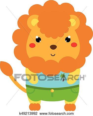 Mignon Lion Dessin Animé Kawaii Animal Caractère Dans Clothes Vecteur Illustration Pour Gosses Et Bébés Mode Clipart