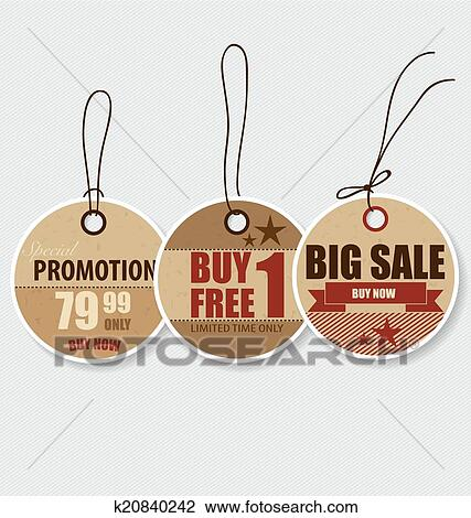 Clipart Of Price Tag Sale Coupon Voucher Vintage Style Template