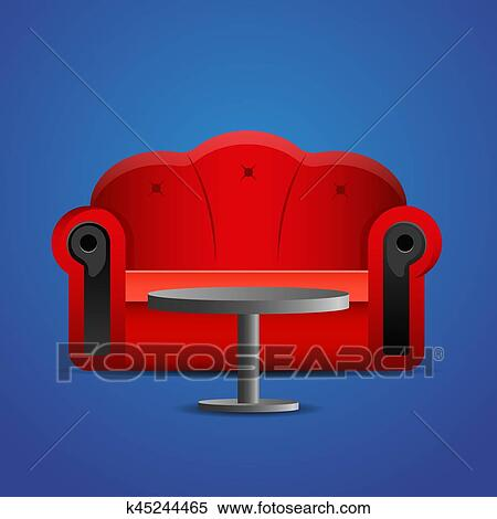 Clipart Of Red Sofa With Table On Blue Background K45244465