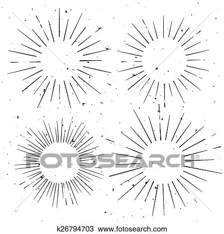 Clipart of Set of vintage circle hand drawn ray frames, starburst ...