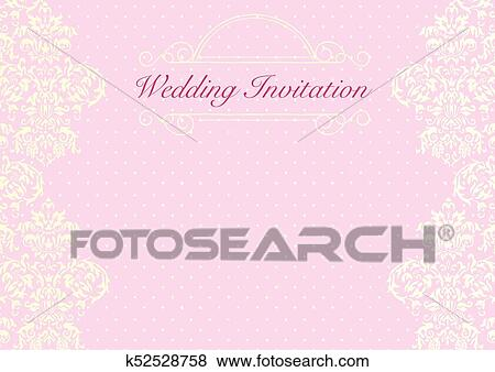 The Pink Wedding Invitation Card Background Template With