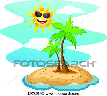 clipart of tropical island with funny sun char k9789593 search rh fotosearch com