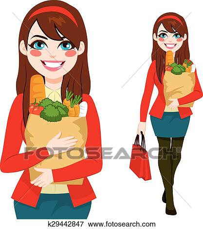 clip art of woman carrying grocery bag k29442847 search clipart rh fotosearch com black woman shopping clipart women shopping clip art free