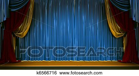 Stock Illustraties - 3d, theater, scène, set, met, rood, fluwelen ...