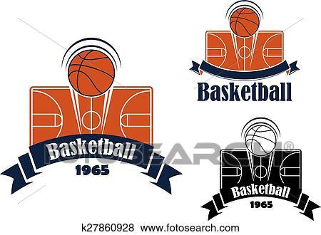 Clip Art Of Basketball Game Sporting Symbol Or Emblem K27860928