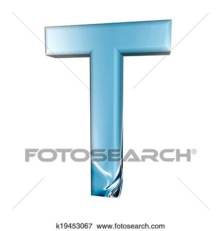 blue alphabet letter t 3d isolated on white