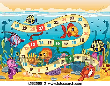 clipart of boardgame template with under the sea background