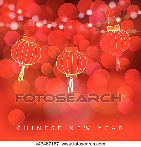 chinese new year card with paper lanterns and glittering lights party decoration modern vector illustration with red blurred bokeh background