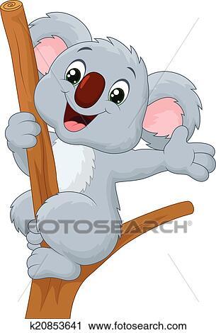 Clipart Of Cute Koala Cartoon Waving Hand K20853641 Search Clip