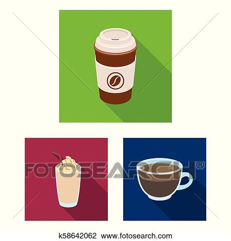 Clipart Of Different Kinds Of Coffee Flat Icons In Set Collection