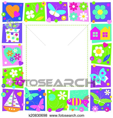 Clip Art Of Flowers And Butterflies Border K20830698