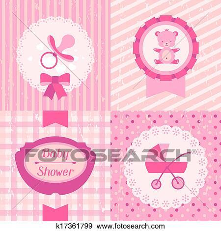 Girl Baby Shower Invitation Cards Clip Art K17361799