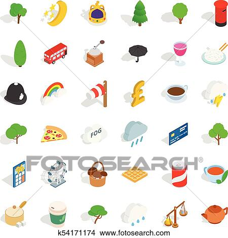 clipart of great britain icons set isometric style k54171174