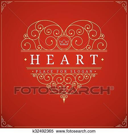 Clipart - herz, altmodisch, luxus, logo, schablone k32492365 - Suche ...