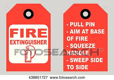 Clip Art Of How To Use A Fire Extinguisher Informational Tags Front