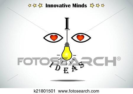 Clipart Of I Love Ideas Face Bright Light Bulb K21801501